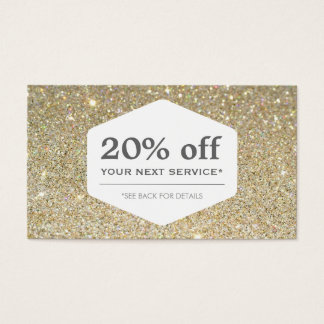 ELEGANT WHITE EMBLEM ON GOLD Discount Coupon Card