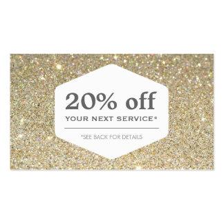 ELEGANT WHITE EMBLEM ON GOLD Discount Coupon Card Business Card