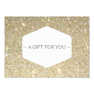 ELEGANT WHITE EMBLEM ON GOLD GLITTER Gift Card