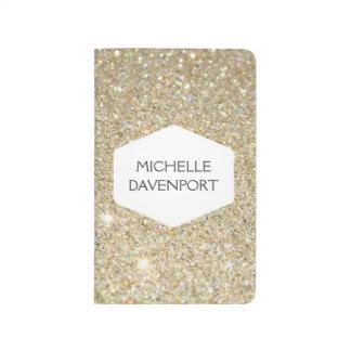 ELEGANT WHITE EMBLEM ON GOLD GLITTER Personalized Journal
