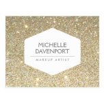 ELEGANT WHITE EMBLEM ON GOLD GLITTER Postcard