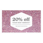 ELEGANT WHITE EMBLEM ON PINK GLITTER Coupon Card Business Card Templates