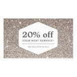 ELEGANT WHITE EMBLEM ON SILVER GLITTER Coupon Card Business Card Templates
