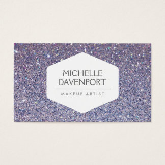 ELEGANT WHITE EMBLEM ON VIOLET GLITTER BACKGROUND BUSINESS CARD