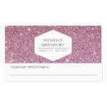 ELEGANT WHITE EMBLEM PINK GLITTER APPOINTMENT CARD BUSINESS CARDS