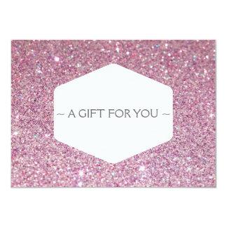ELEGANT WHITE EMBLEM PINK GLITTER Gift Certificate Custom Invite
