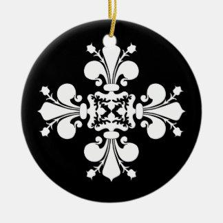 Elegant white fleur de lis damask motif ceramic ornament