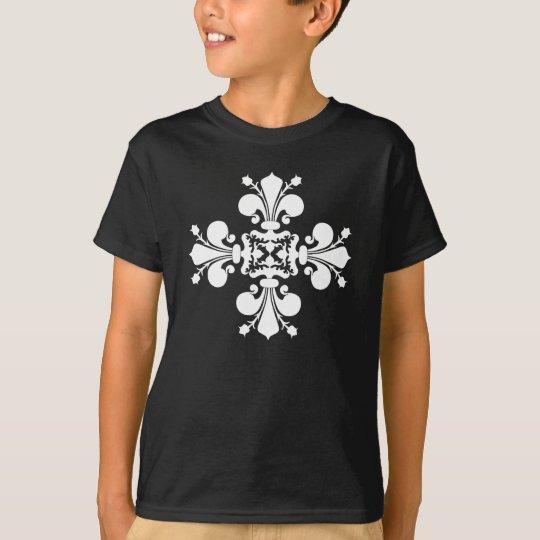 Elegant white fleur de lis damask motif T-Shirt