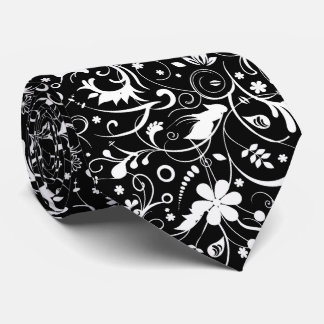 Elegant White Floral Fabric Pattern Tie