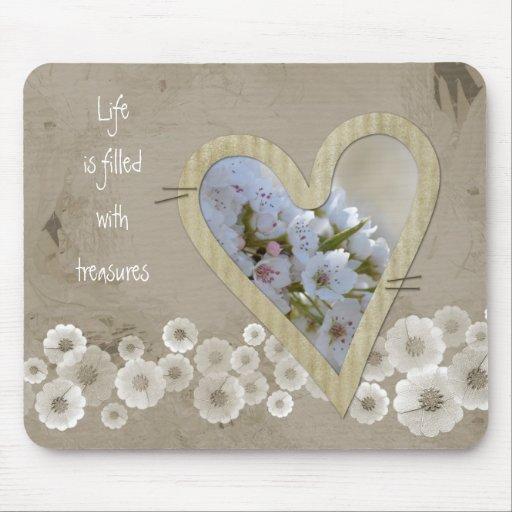 Elegant White Floral Heart Mouse Pad