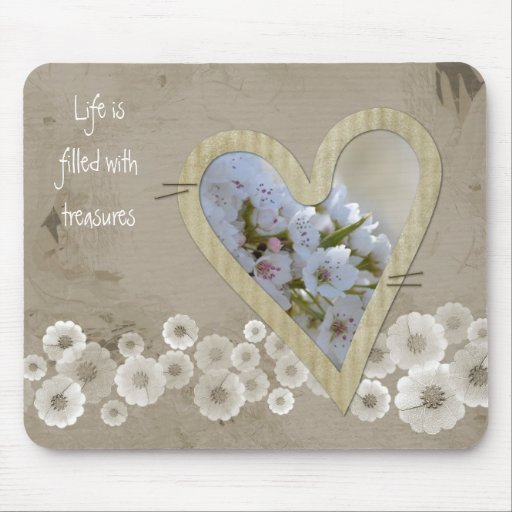 Elegant White Floral Heart Mouse Pads