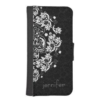 Elegant White Floral Lace 2 Over Black Background iPhone SE/5/5s Wallet Case