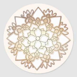 Elegant White Floral Lotus Mandala Flower Sticker