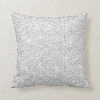 Elegant White Glitter & Sparkles Throw Pillow