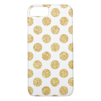 Elegant White Gold Glitter Polka Dots Pattern iPhone 7 Case