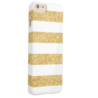 Elegant White Gold Glitter Stripes Barely There iPhone 6 Plus Case