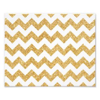 Elegant White Gold Glitter Zigzag Chevron Pattern Art Photo