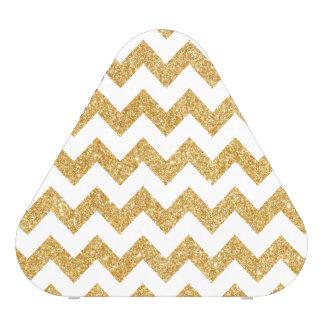 Elegant White Gold Glitter Zigzag Chevron Pattern Blueooth Speaker