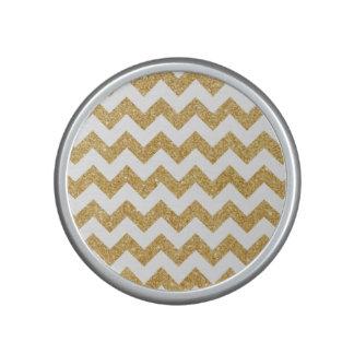 Elegant White Gold Glitter Zigzag Chevron Pattern Bluetooth Speaker