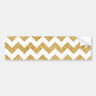 Elegant White Gold Glitter Zigzag Chevron Pattern Bumper Sticker