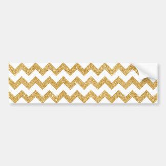 Elegant White Gold Glitter Zigzag Chevron Pattern Bumper Sticker