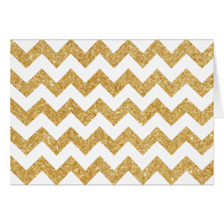 Elegant White Gold Glitter Zigzag Chevron Pattern Card