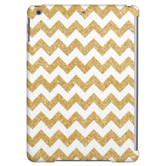 Elegant White Gold Glitter Zigzag Chevron Pattern Case For iPad Air