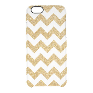 Elegant White Gold Glitter Zigzag Chevron Pattern Clear iPhone 6/6S Case