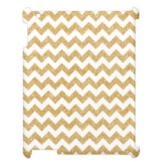 Elegant White Gold Glitter Zigzag Chevron Pattern Cover For The iPad