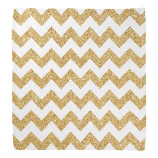 Elegant White Gold Glitter Zigzag Chevron Pattern Do-rags