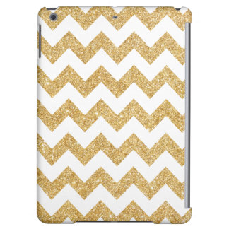 Elegant White Gold Glitter Zigzag Chevron Pattern iPad Air Covers