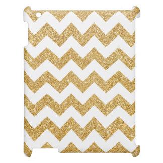 Elegant White Gold Glitter Zigzag Chevron Pattern iPad Cases