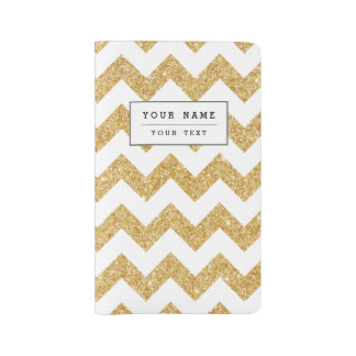Elegant White Gold Glitter Zigzag Chevron Pattern Large Moleskine Notebook
