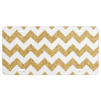 Elegant White Gold Glitter Zigzag Chevron Pattern License Plate