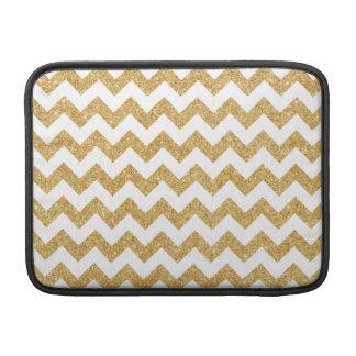 Elegant White Gold Glitter Zigzag Chevron Pattern MacBook Sleeve