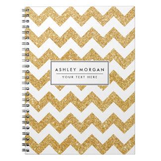 Elegant White Gold Glitter Zigzag Chevron Pattern Spiral Note Books