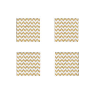 Elegant White Gold Glitter Zigzag Chevron Pattern Stone Magnets