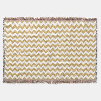 Elegant White Gold Glitter Zigzag Chevron Pattern Throw