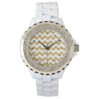 Elegant White Gold Glitter Zigzag Chevron Pattern Watch