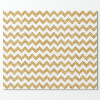 Elegant White Gold Glitter Zigzag Chevron Pattern Wrapping Paper