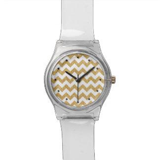 Elegant White Gold Glitter Zigzag Chevron Pattern Wrist Watches