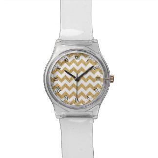 Elegant White Gold Glitter Zigzag Chevron Pattern Wristwatches