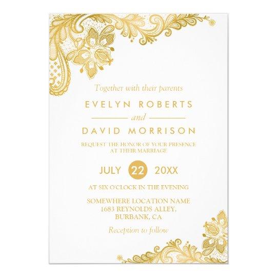 Elegant White Gold Lace Pattern Formal Wedding Card Zazzleca