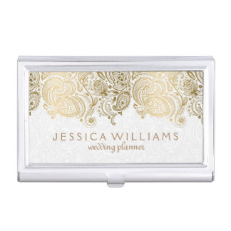 Elegant White & Gold Paisley Lace Business Card Holder