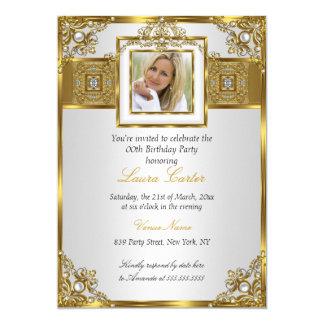 Elegant White Gold Pearl Damask Photo Birthday 2 Card