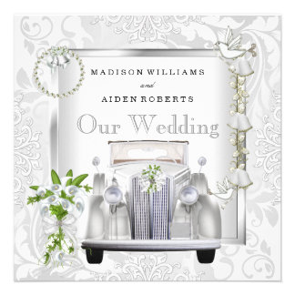 Elegant White Gold Vintage Car Damask Our Wedding Custom Announcements