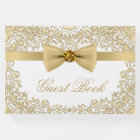 Elegant White Gold Wedding Party Event Guest Book