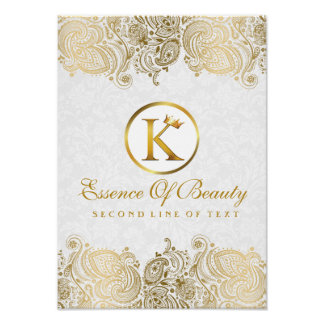 Elegant White & Golden Paisley Lace Poster