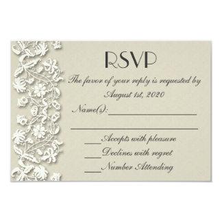Elegant white gray lace custom wedding RSVP cards