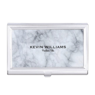 Elegant White & Gray Marble Texture Business Card Holder